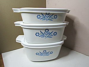 Vintage Corning Ware Three Plastic Covered Casserole