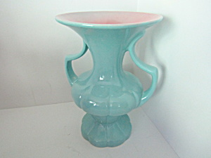 Vintage Gonder Tall Blue Aqua Double Handled Vase