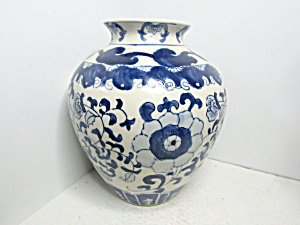 Vintage Large Pottery Blue & White Floral Vase