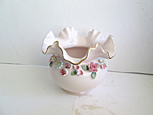 Vintage Napco Pink Applied Floral Design Vase