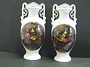Vintage Double Handled Tavern Ovalvases Colonial Design
