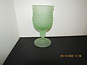 Vintage Indianaglass Frosted Green Diamond Point Goblet