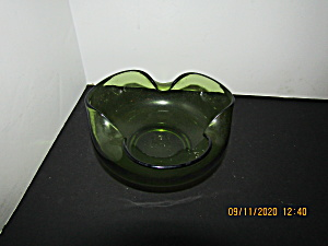 Vintage Anchor Hocking Crimped Tucked Edge Green Bowl