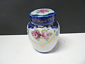 Vintage Pink & Blue Covered Floral Ginger Jar
