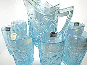 Imperial Glass Light Blue Robin Pitcher & Glass Set