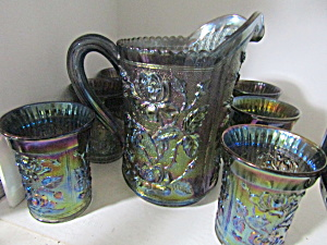 Imperial Carnival Glass Luster Rose Pitcher & Tumblers