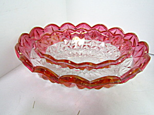 Vintage Indiana Glass Ruby Red Diamond Point Bowl Set
