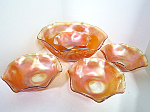 Vintage Carnival Glass Prism & Daisyband Berry Bowl Set
