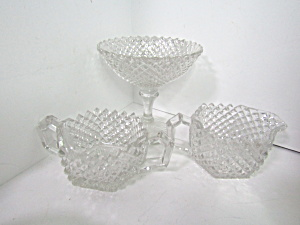 Vintage Elegant Glass Old English Hobnail Set