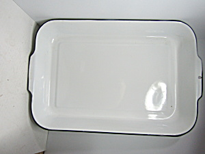 Vintage Enamelware White & Black Large Roaster