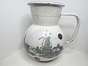 Vintage Enamelware White/ Black/gray Large Water Jug
