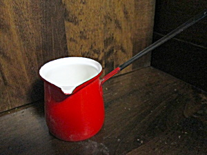 Enamel Ware Red/white 1 Cup Long Handled Measure