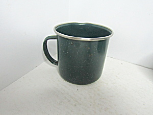Enamelware Vintage Dark Green Speckled Coffee Cup
