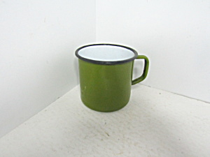 Vintage Enamelware Avocada Green Coffee Mug