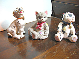 Three Mini Resin Animals Cow,dog & Cat Figurines