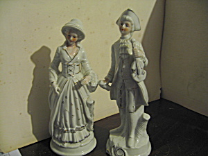 Vintage Colonial Couple White & Gold Figurines