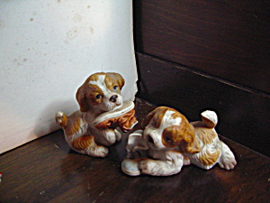 Vintage Homco Figurine Cocker Spaniel Pups With Shoe