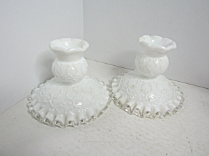 Fenton Spanish Lace Silvercrest Milk Candle Holders