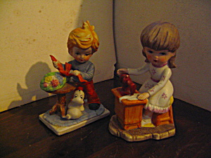 Vintage Figurines Girl Sewing And Boy Wrapping Gift
