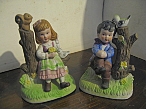 Vintage Figurines Girl And Boy On Stump