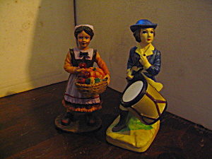 Vintage Drummer Boy & Harvest Girl Figurines