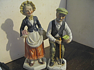 Vintage Figurines Farmer And Lady