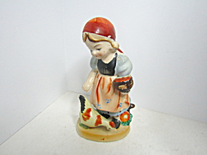 Vintage Porcelain Figurine Young Girl Feeding Chickens
