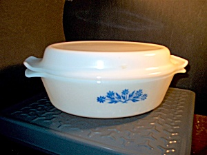 Vintage Fire King Cornflower Oval Covered Casserole