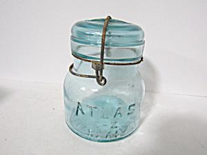 Vintage Atlas E-Z Seal Pint Aqua Wire Bail Fruit Jar (Image1)