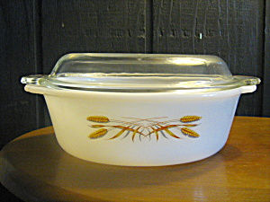 Vintage Fire King Wheat 1.5 Quart Covered Casserole.