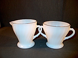 Vintage Fire King Sugar Bowl And Creamer Set