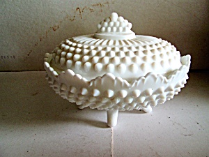 Vintage Fenton Hobnail Covered Candy Milk Glass Dish