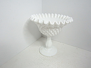 Vintage Fenton Hobnail Milk Glass Compote/candy Dish