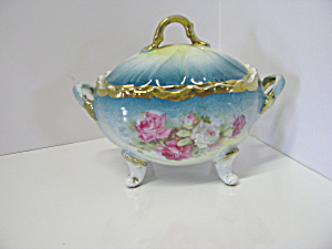 Vintage German Floral Coverd Trinket Box