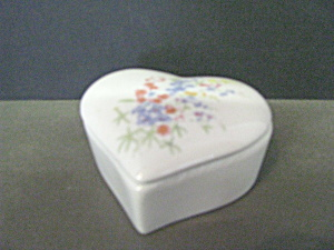 Vintage Heart Shaped Floral Trinket Box