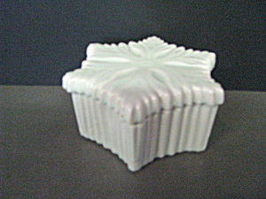 Vintage Star Shaped White Blue Tinted Trinket Box