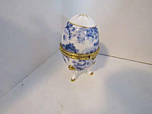 Vintage Max At Home White Blue Trinket Box Egg
