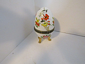 Vintage China Orange & Yellow Floral Trinket Box Egg