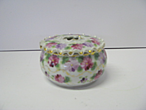 Vintage Porcelain Floral Powder Jar