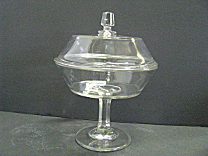 Clear Glass Pedestal Covered Compote