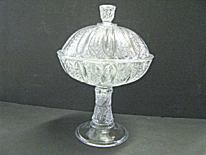 Clear Patterned Glass Pedestal Covered Compote