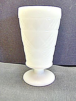 Vintage Big Top  Hazel Atlas Milk Glass Footed Goblet (Image1)