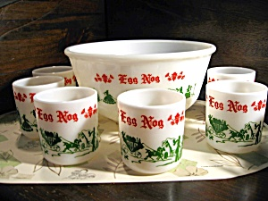 Vintage Egg Nog Colonial Milk Glass Punch Bowl Set