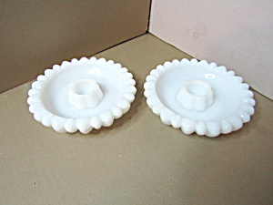 Vintage Hazel Atlas Milk Glass Daisy Candle Holders
