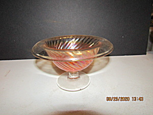 Vintage Imperial Glass Amber Rolled Rim Swirl Compote