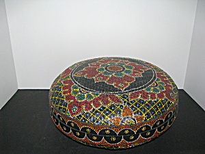 Vintage Round Lidded Moroccan Sewing Basket