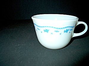 Vintage Pyrex Morning Blue Closed Handle Tea Cup