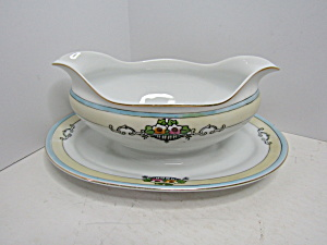 Vintage Meito China Angelus Gravy Boat With Underplate