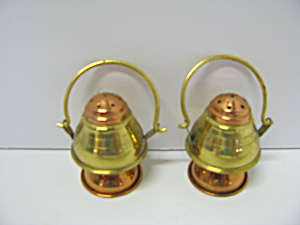 Vintage Brass/copper Look Lantern Salt & Pepper Shakers