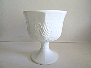 Milk Glass Pedestal Bowl \ Compote Harvest By Colony